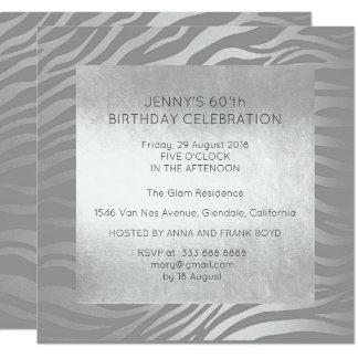 Encanto de la piel animal de la plata de la fiesta invitación 13,3 cm x 13,3cm