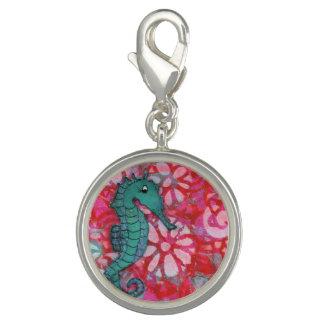 Encanto del Seahorse, rojo, trullo y rosa, encanto Dije