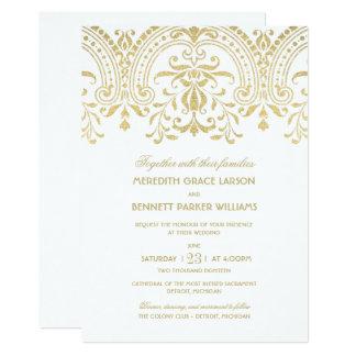 Encanto del vintage del oro de las invitaciones el