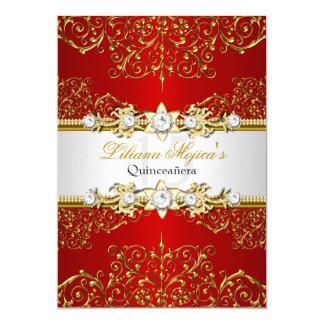 Encanto rojo Quinceanera del vintage del oro Invitación 12,7 X 17,8 Cm