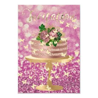 Encanto subió rosa del Peony del oro del purpurina Invitación 8,9 X 12,7 Cm