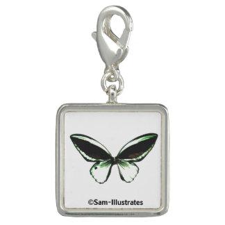 Encanto verde del pulsera con dije de la mariposa