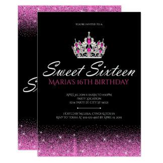 Encanto y purpurina, invitaciones rosadas del