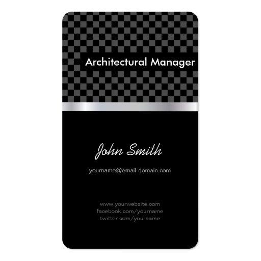 Encargado arquitectónico - a cuadros negro elegant tarjeta de visita