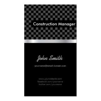 Encargado de la construcción - a cuadros negro ele tarjetas de visita