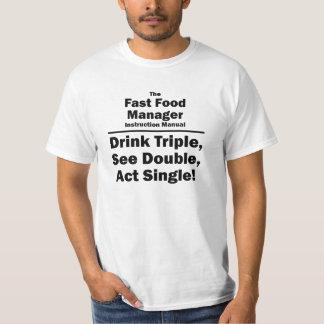 encargado de los alimentos de preparación rápida camiseta