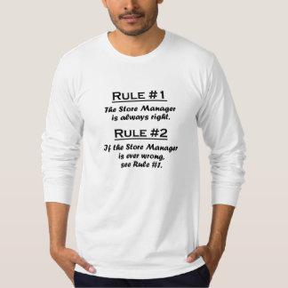 Encargado de tienda de la regla camiseta