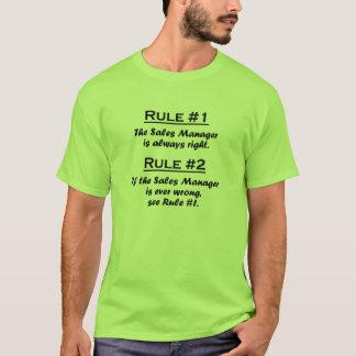 Encargado de ventas de la regla camiseta