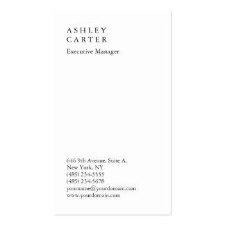 Encargado llano blanco impresionante elegante tarjetas de visita