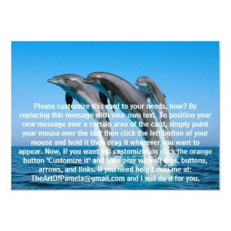 Encima de delfínes ascendentes ascendentes invitación 12,7 x 17,8 cm