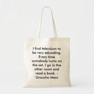 Encuentro la televisión muy para educar bolsa de mano