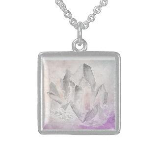 Energía Amethyst de la cura cristalina de la Collar De Plata De Ley