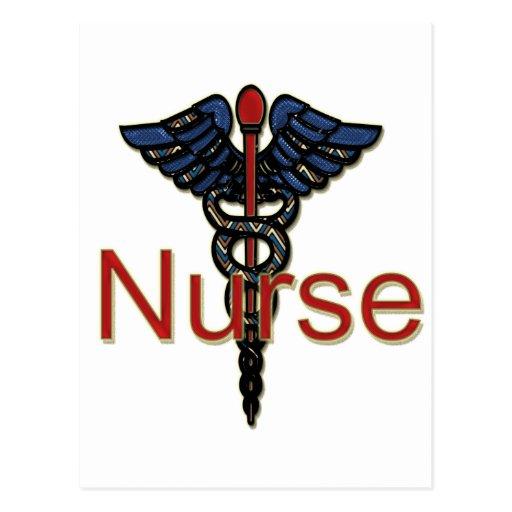 Enfermera con el caduceo tarjeta postal