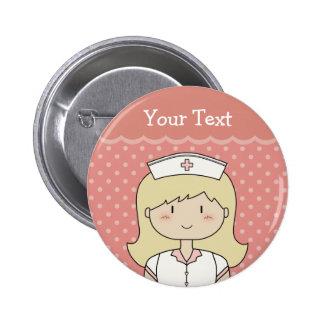 Enfermera con el pelo rubio chapa redonda de 5 cm