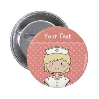 Enfermera con el pelo rubio corto chapa redonda 5 cm