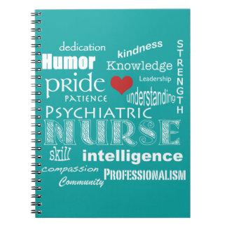 Enfermera-Cualidades psiquiátricas/aguamarina azul Cuadernos