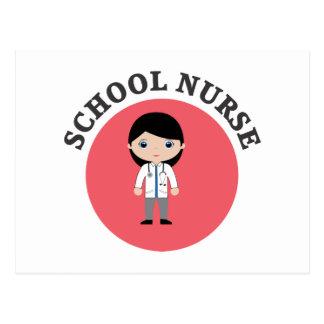 Enfermera de la escuela en círculo rojo postal