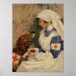 Enfermera de la guerra con golden retriever 1917 póster