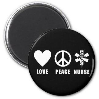 Enfermera de la paz del amor imán redondo 5 cm
