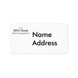 Enfermera de NICU Etiquetas De Dirección