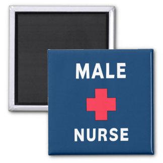Enfermera de sexo masculino imán cuadrado