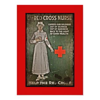 Enfermera de WWI que aumenta fondos Invitación 13,9 X 19,0 Cm