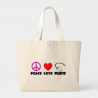 Enfermera del amor de la paz bolsa tela grande