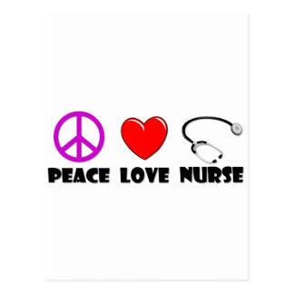 Enfermera del amor de la paz postales