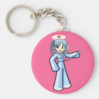 Enfermera del animado con el uniforme del azul del llavero redondo tipo chapa