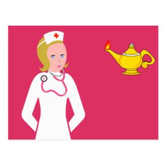 Enfermera del animado que lleva el estetoscopio postal