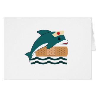 Enfermera del delfín tarjeta de felicitación
