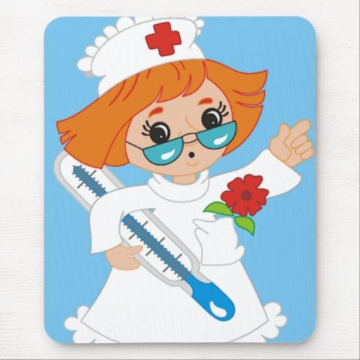 Enfermera del dibujo animado alfombrilla de ratón | Zazzle