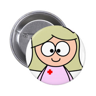 Enfermera del dibujo animado chapa redonda 5 cm