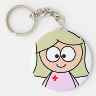 Enfermera del dibujo animado llavero redondo tipo chapa
