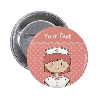 Enfermera del dibujo animado (redhead) chapa redonda de 5 cm