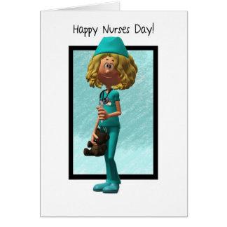 Enfermera del dibujo animado, tarjeta de