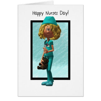 Enfermera del dibujo animado, tarjeta de felicitac