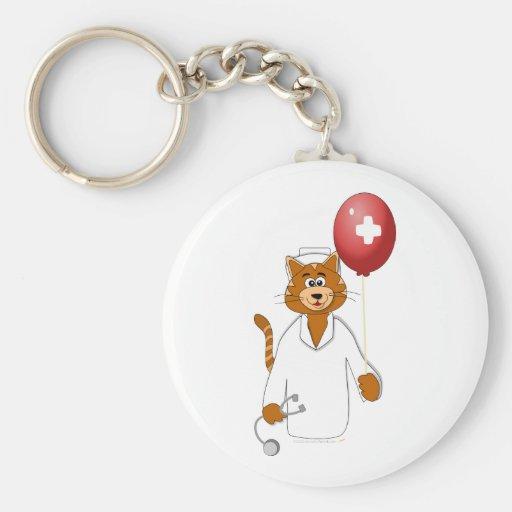 Enfermera del gato del dibujo animado con el globo llavero