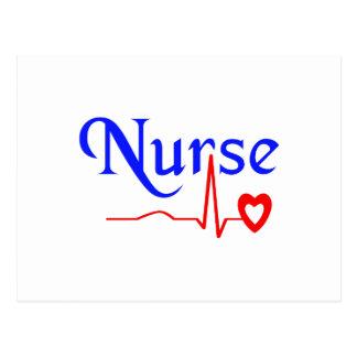 enfermera del latido del corazón postal