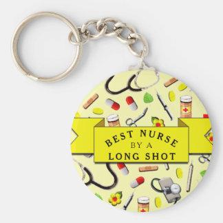 Enfermera divertida llavero redondo tipo chapa