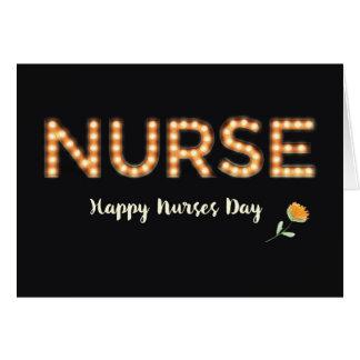 Enfermera, enfermeras día, letras de la bombilla tarjeta de felicitación