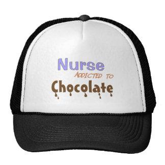 Enfermera enviciada al chocolate gorras de camionero