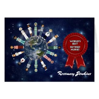 Enfermera jubilada y admirada del mejor del mundo tarjeta de felicitación