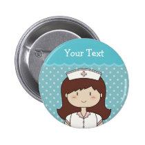 Enfermera linda del dibujo animado (brunette), chapa redonda de 5 cm