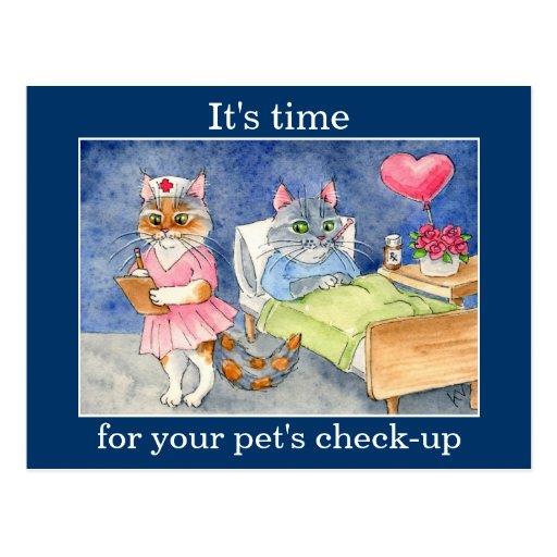 Enfermera linda del gato, recordatorio veterinario tarjeta postal