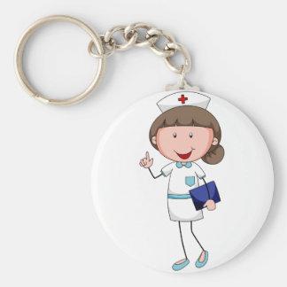 Enfermera Llavero Redondo Tipo Chapa