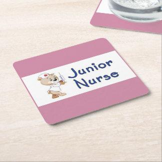 Enfermera menor posavasos cuadrado de papel