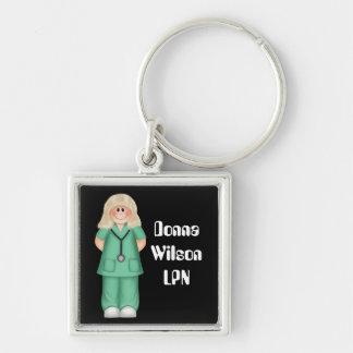 Enfermera personalizada Blonde Llavero Cuadrado Plateado