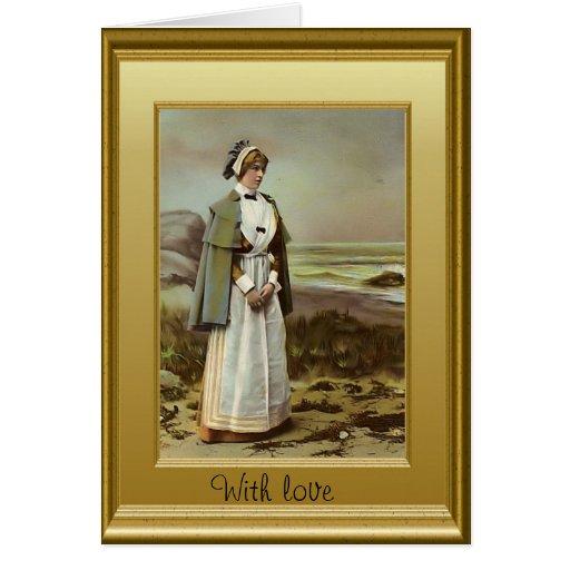 Enfermera por la playa tarjetón