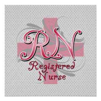 Enfermera registradoa del RN remolinos rosados de